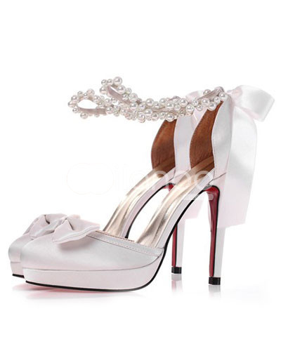 White Satin Ankle Strap Bow Decoration Bridal Shoes :  white ankle strap bridal shoes satin