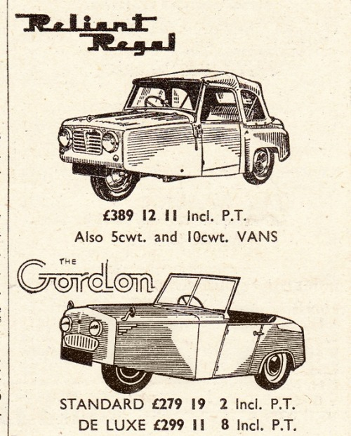 (via Vintage Scans: Reliant Regal)  Slocombe's of Neasden ad from The Motorcycle, June 30th 1955.