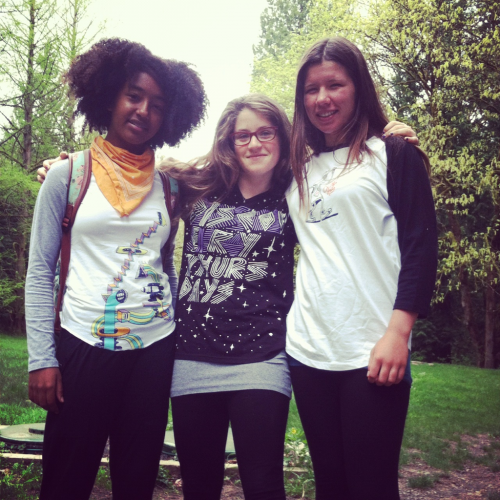 Hiking the Wildwood Trail in Forest Park, Portland. The ladies are wearing T-shirts designed by Will Bryant from ADX Portland.