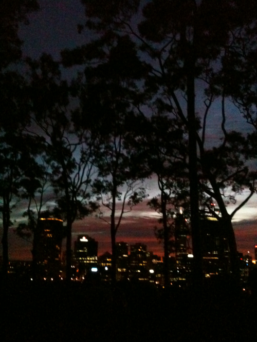 City view - sunrise at Kings Park.