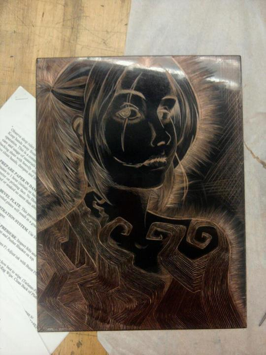 Intaglio self portrait. This was when I was etching at the copper plate. I've already done the biting and printed it several times. I finished the edition on Monday. Bite was a total of about 40 minutes. I did stage biting and it took about 3-4 hours to bite.