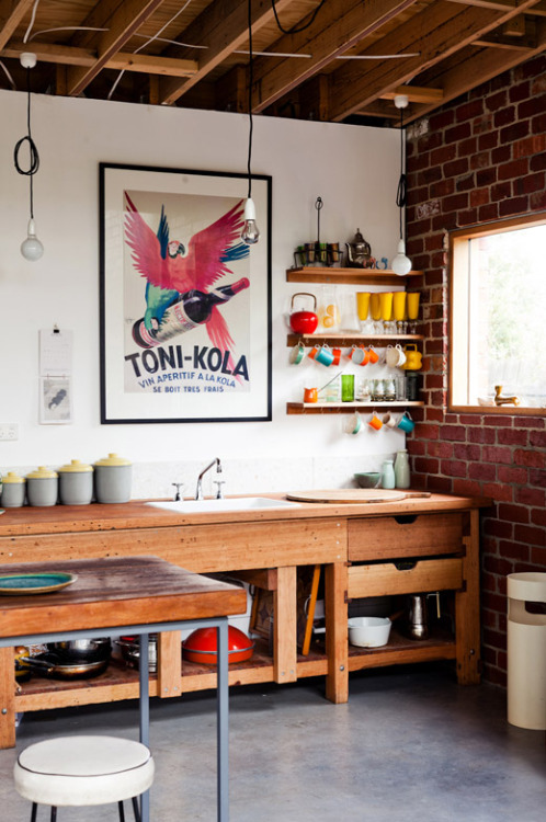 myidealhome:  industrial + vintage mix (via The Design Files)