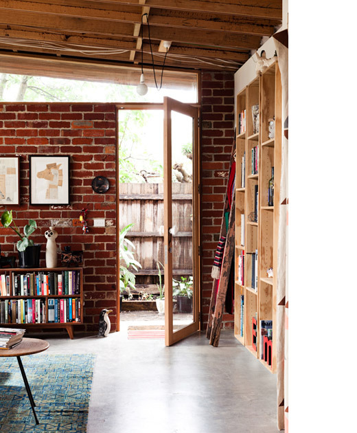 myidealhome:  bookshelves + bricks (via thedesignfiles)