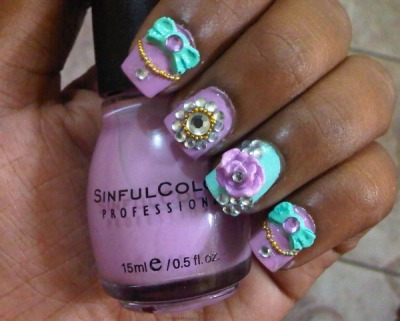Cute colors! Cute nails! (via Chantel A. | Beautylish)