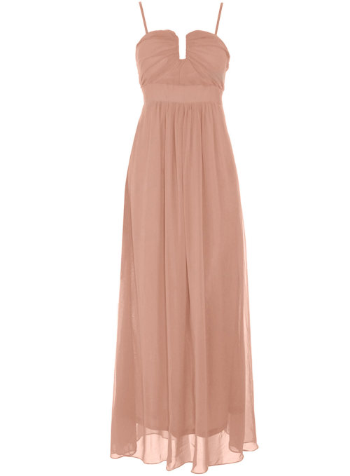 Beige Chiffon Maxi Dress by Dorothy PerkinsBeige chiffon maxi dress. Structured detailing on the top with hidden support. Length 130cm. 100 polyester. Hand wash only.Click here