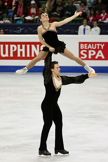 Meagan Duhamel and Craig Buntin's elegant Tosca costumes at the 2008 World Championships. Photo by Brett Barden.