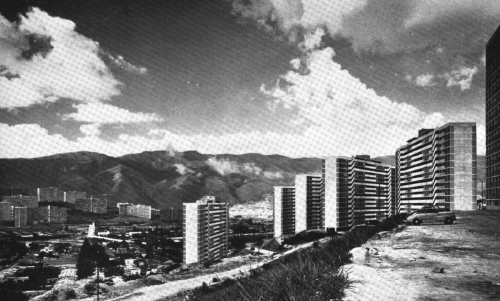 The Cerro Piloto housing group, Caracas, Venezuela (circa 1957). Designed by Guido Bermudez, this group of social housing blocks were built to replace the shanty town on the side of the hill on which the blocks now occupy. Squatters were given the opportunity to live in the blocks, however, attitudes towards the blocks were generally unfavourable. Many chose not to live there as they were more suited to low rise properties, so 4 storey blocks were built around 1958.