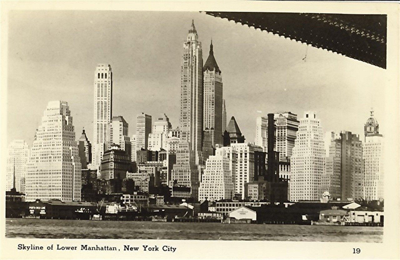 New York City - the Lower Manhattan Skyline in the 1940s or 50s.