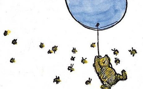 Winnie the Pooh floating with a balloon while bees gather