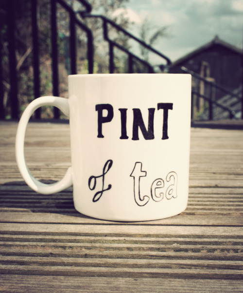 Pint of tea mug - giant sized & hand drawn- buy here