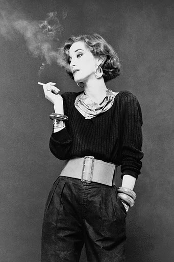LouLou de la Falaise, assistant and muse to the late Yves Saint-Laurent, the woman who inspired (some might say created) his infamous Le Smoking look - men's formal suits for women - and contributor to the development of chunky jewellery as an art-form. /Apocalypse Mjau