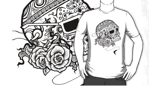 Oh my gosh y'all, my decorative skull design is now available as t-shirts and hoodies and STICKERS!!