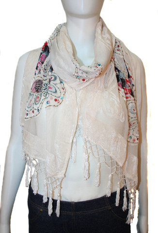 100% vintage silk, hand beaded scarves .. add a touch of luxe to your outfit!
