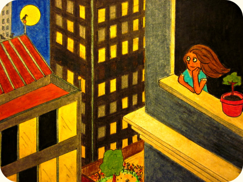 """The Girl Who Is Okay"" Angela Camblor gazes out at that evening's full moonWhile city lights are nice, the starlit sky makes her swoon.She inhales deep the crisp Spring air and feels quite alright,And reminds herself to be aware that it's a wonderful night. There were problems before, and there'll be problems to comeAnd what matters to her might not matter to someBut even though she was never one to go whinge and whine,She knows how rare it is to feel absolutely fine. So Angela savours the feeling, before it has passedWhile the nice evening will end, it won't be the last.She'll wake up in the morning and have another day,Forever knowing in her bones that she's perfectly okay. Posted 4/24/2012 Wanna star in your very own Daily Doodle?  CLICK HERE!FAQ  TWITTER  FACEBOOK CLICK HERE to read Yesterday's Doodle!"
