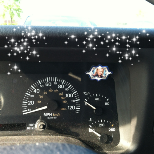 I've had this Thor sticker on my dash for almost a year. Hahaha. With added sparkles!
