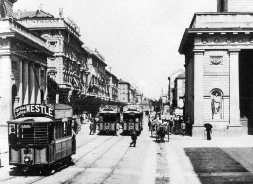 Edison Tram in Porta Venezia; Edison Trams were in service until the late 1930's