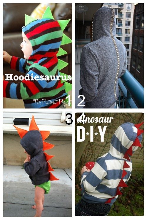 Three Dinosaur Inspired Hoodies and A Vertebrae Hoodie for Kids of Any Age: DIY Dino Hoodie (The Pinterest Project) here. DIY Vertebrae Hoodie (maison des reveries) here. DIY Dino Hoodie (DIYing to be Domestic) here. DIY Dino Hoddie (Ginger&George) here.