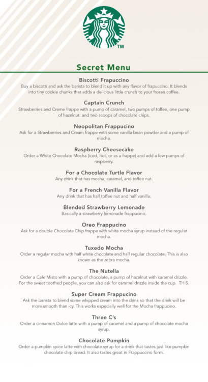 Behold, the secret Starbucks menu Now go forth and order a Nutella. Via