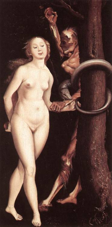 barefootmarley:  eve, the serpent and death hans baldung circa 1510