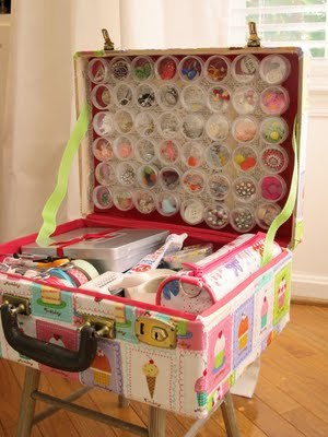storagegeek:  Very pretty and very organized craft suitcase from Amy Powers. I think is a viable option for budding crafters or artists in small spaces. The magnetic bead containers in the lid I think are key.