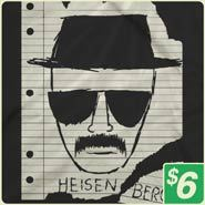 Description: Breaking Bad Heisenberg     Have you seen this man? I need to speak with him….badly.  • Professionally printed silkscreen  • High-quality, 100% cotton tee.  • Ships within 2 business days  • Designed and printed in the USA