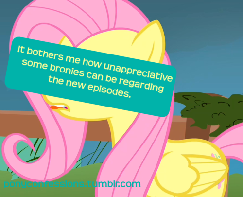 "It bothers me how unappreciative some bronies can be regarding the new episodes.  Whenever there's a new episode, the /pony/ board on Ponychan usually gets filled with criticism about how ""x pony was out of character"" and ""the writing was sloppy in this scene"" and ""Rainbow Dash sucks"". Don't they realize that the writers visit the site? Don't they ever conside the fact that reading so many negative comments about their hard work doesn't really motivate them? Why can't they just appreciate the effort put into this wonderful show?"