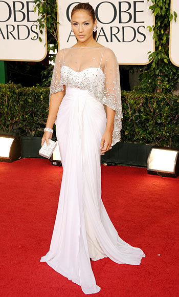 Jennifer Lopez in a white Zuhair Murad dress with a sheer top #GoldenGlobes2011