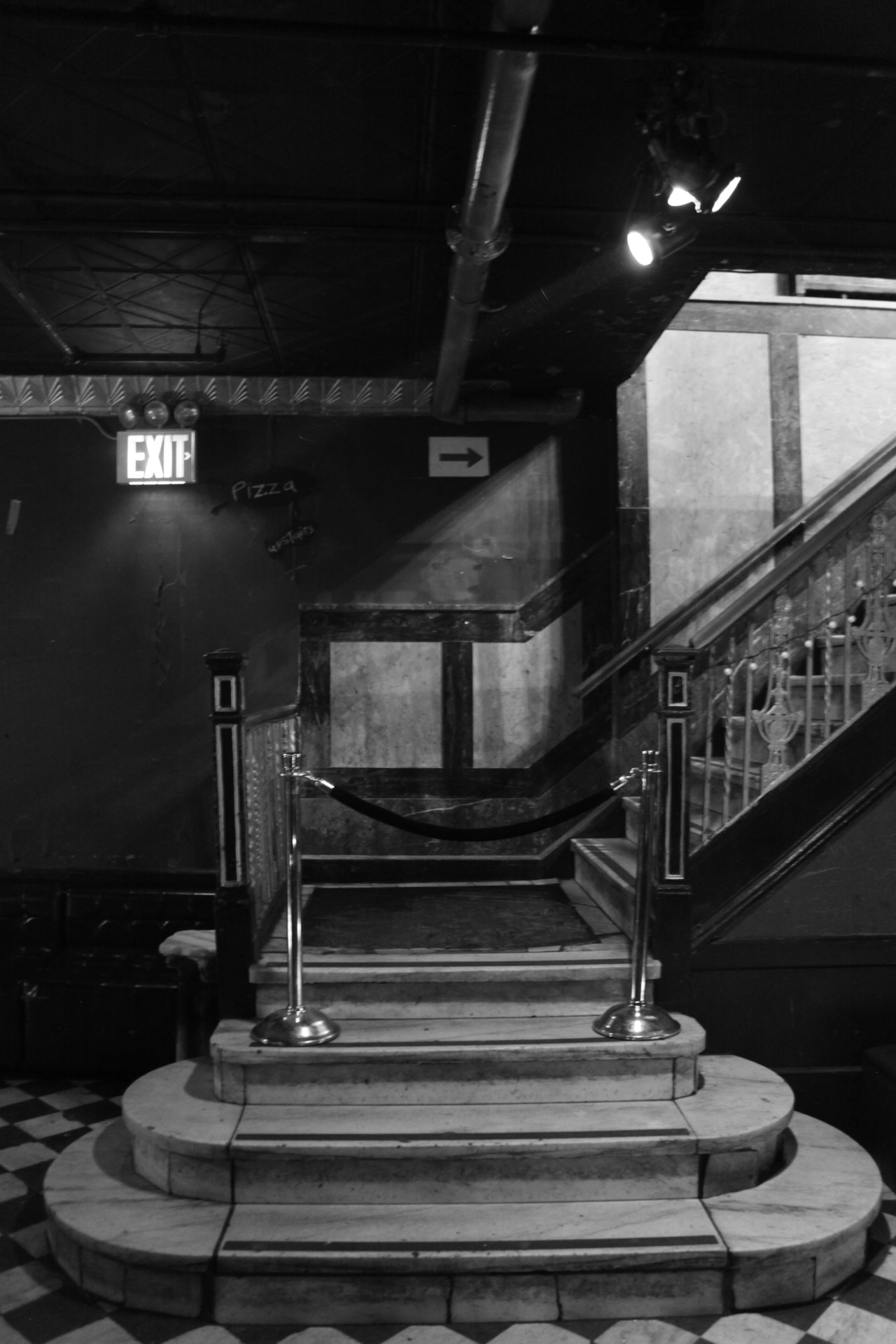 "Staircase from the ""studio"" to the main floor at Webster Hall."