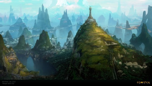 Spire City, landscape. Illustration done in photoshop by Phil_Wohr You will also like: spaces.