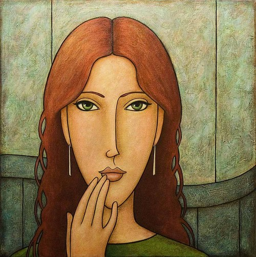 contemplation 22 x 22 inches acrylic on canvas 2005private collectionartist: Norman Engel