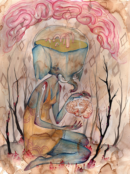 2headedsnake:  nomi-chi.com Nomi Chi, Forest Lovers Ghost Guts I, 2010, Watercolour, ink on paper