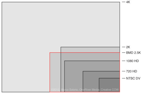 Blackmagic Design Cinema Camera sensor size marked in red.