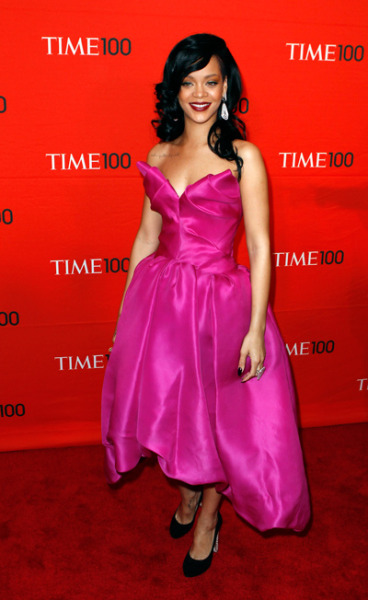 vibevixen:  Rihanna attended the 'TIME 100 Gala' in NYC styled in a fuchsia Marchesa Resort 2012 gown and Christian Louboutin Bois Dore platform pumps