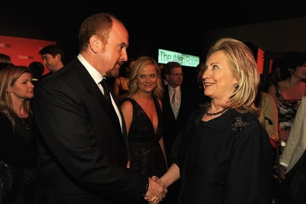 tallwhitney:  Hillary Clinton meets Louis C.K. (I would love to know what's being said here)  I love Amy creepin' in the background.