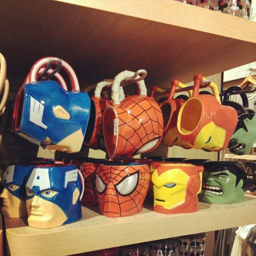 agentmlovestacos:  @Marvel mugs at the Disney store in Times Square. I successfully resisted the urge to buy robot Vinylmation toys. (Taken with instagram)