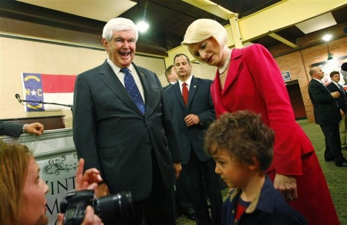 Gingrich to drop out of the race, Fox and CNN report    Newt Gingrich is expected to withdraw next week from the U.S. Republican presidential contest, CNN said on Wednesday, a day after Mitt Romney added to his commanding lead in the Republican race with primary wins in five states.   Photo credit: Newt Gingrich reacts as he stands with his wife Callista while watching four-year-old Raphael Ploski after his rally in Concord, North Carolina, April 24, 2012. REUTERS/Chris Keane