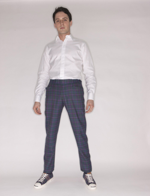 Dashing Tweeds ready-to-wear Twisted Trousers in Regents Park Check with Dashing Converse Jack Purcell plimsolls, also in Regents Park Check. Photographed by Guy Hills.