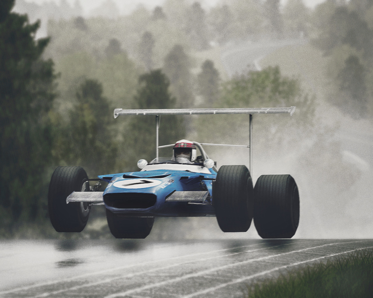 Sir Jackie Stewart - Getting air at the Nurburgring in his Matra MS-80 Cosworthfor Shyam-bze  (Okay so this is a screen shot from racing simulation rFactor, had me fooled for a minute. Thanks Automotive Porn for spotting this.)
