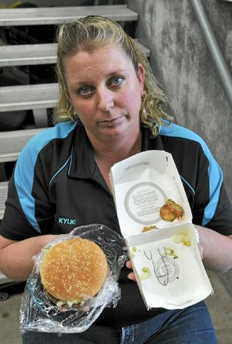 cordjefferson:   TOOWOOMBA mother Kylie Steger's appetite for fast food has been ruined by a rude surprise at the bottom of a burger box.  This is what's happening in Australia today.