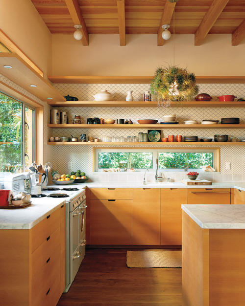 Open kitchen shelving with a wallpaper backdrop. Exactly how I'd do it!