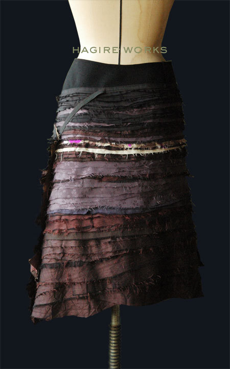 "atelier-scrumpcious:  Our creation ""Skirt of HAGIRE WORKS"".HAGIRE means bits of fabric. We pile up small fabric and sew repeatedly."