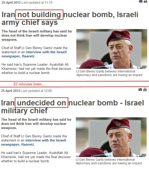 BBC Headline Change: Iran Goes from 'not building' to 'undecided on' Nuclear Bomb