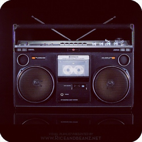 Vintage Hitachi Boombox. One of the sexiest boxes out there. Photo by Radio DmZ ______________________________________ #Hitachi #Boombox #retro #vintage #1980s #riceandbeanz #ghettoblaster #blasta #bBoy #silver #metal  (Taken with instagram)