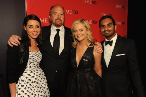 April Ludgate, Dave Sanderson, Leslie Knope and Tom Haverford at the Time 100 Gala.
