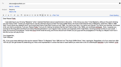 I wrote this email to Rascal Flatts about an anachronism in one of their songs