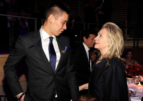 Hillary Clinton hanging out with Jeremy Lin at last night's Time 100 gala via BuzzFeed