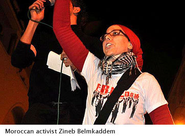 "Young Moroccans Keep Arab-Spring Spirit Alive via Womens eNewsBy Juhie Bhatia The youth-led Feb. 20 Movement in Morocco has simmered down to a core group that includes many female activists. They're keeping an eye on constitutional reforms enacted last year that some say didn't go far enough. ""We want real, radical change,"" says one.  ""My grandma, every time I meet her, she says don't protest, you will go to jail, they will beat you,"" said Raouyane, an intern at the Moroccan Association of Human Rights. ""But I'm not afraid. I really believe in it. If I don't do this, no one will do this for me."" Read more"