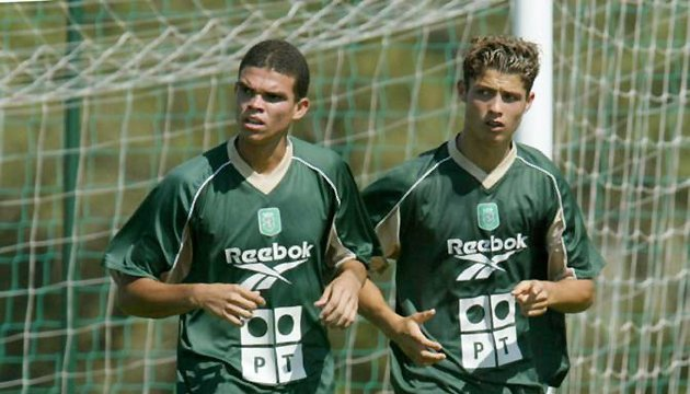 Pepe and Cristiano Ronaldo at Sporting Lisbon.