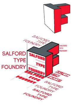 Working on the Salford Type Foundry logo for tomorrow. I've copied up the logo from scanning in the example so we have a digital version ready to be edited however we see fit. I've also had a go at changing the angle to see it it could be any better aesthetically and look more dynamic but it's not entirely convincing I've had a quick play with the typography around it and how it sits, incorporating a typeface I've made along with others I've download. This is just one version and trawling through a few more to print off should give a good chunk of typefaces to consider. Meetings at 12.30 in the soft pod for all those who don't know Whats the main layout/typeface that stands out for people?
