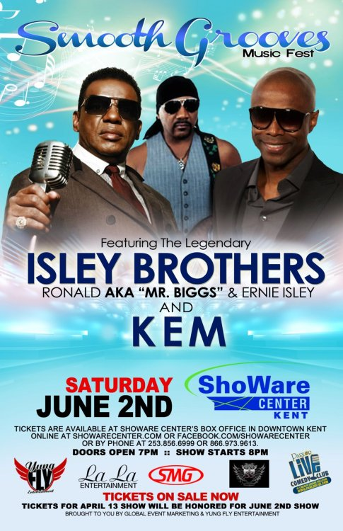 ISLEY BROTHERS KICKING OFF YOUR SUMMER LIVE AT THE SHOWARE IN KENT WA JUNE 2ND. GET YOUR TICKETS NOW @ http://www.showarecenter.com/events/details/000000544/the_isley_bros_kem_on_sale_now